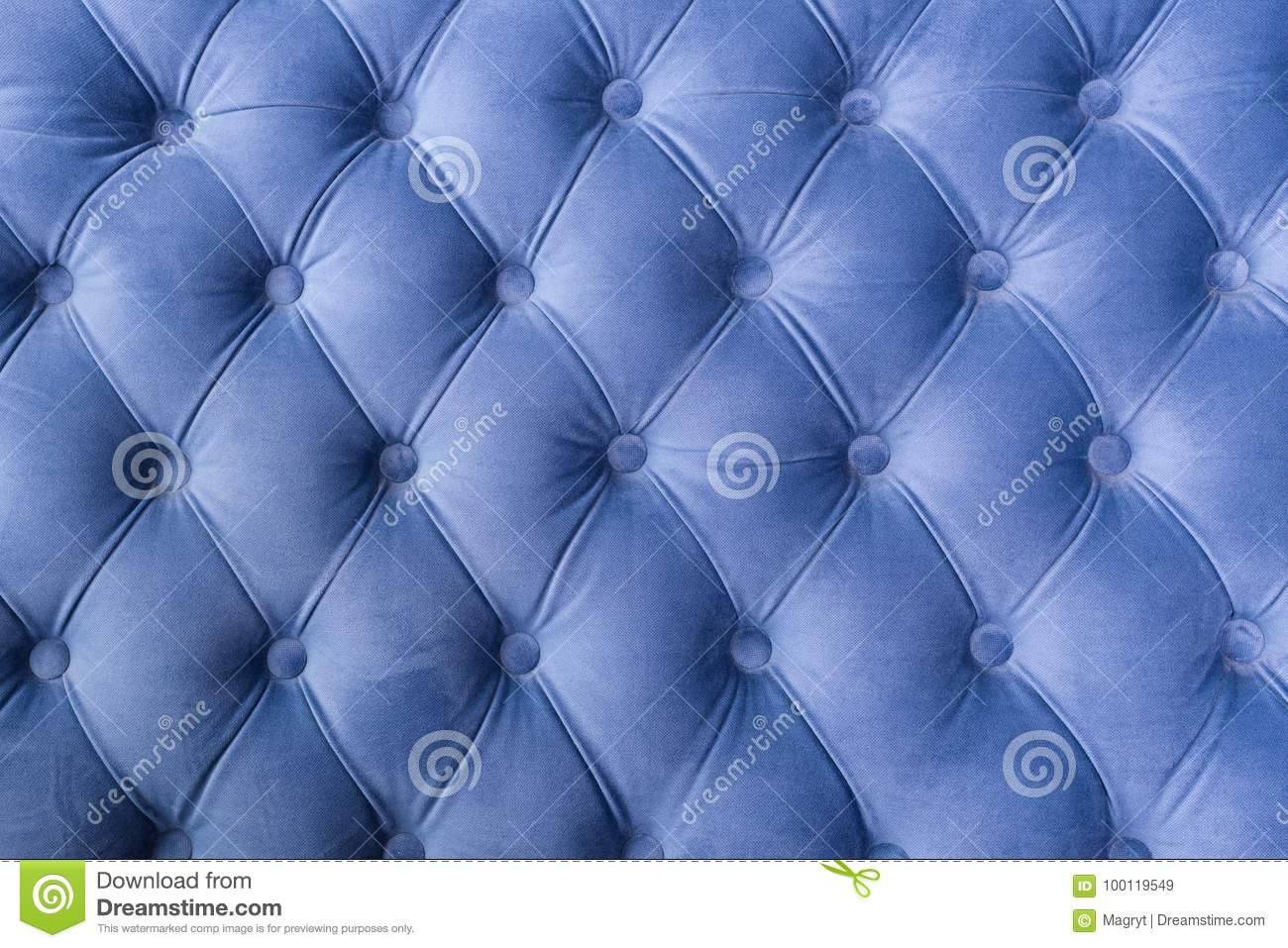 Blue Fabric Sofa Texture With Buttons For Background And