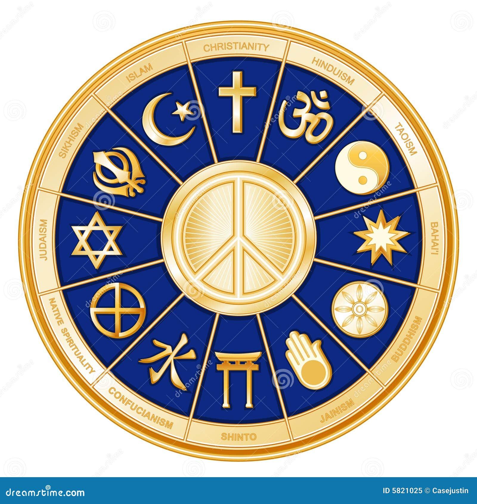 Blue Faiths Many Peace Symbol