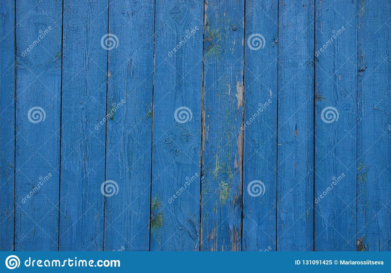 Blue fence of wooden planks.