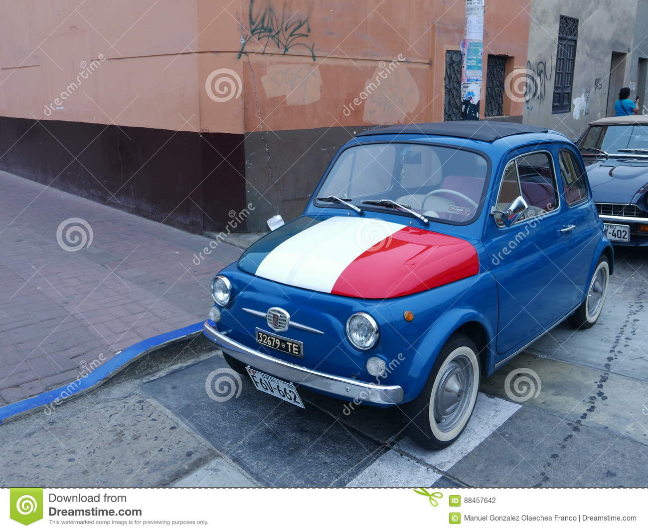 Blue Fiat 500 In Collectors Condition Lima Peru Editorial Photography Image Of Front Domestic 88457642