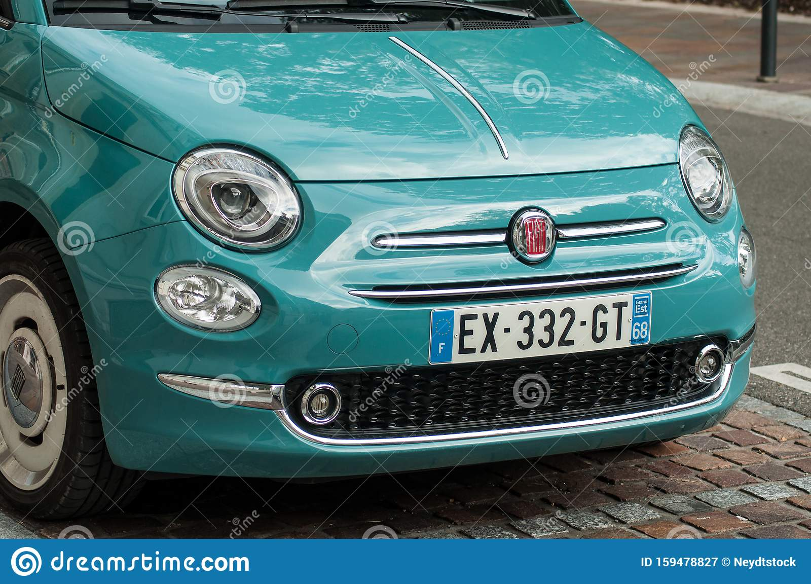 Blue Fiat 500 Front Parked In The Street Editorial Photography Image Of Fiat Motor 159478827