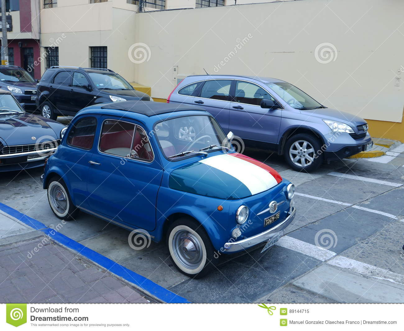 Blue Fiat 500 With The Italian Flag Exhibited In Lima Editorial Image Image Of Collector Exhibition 89144715