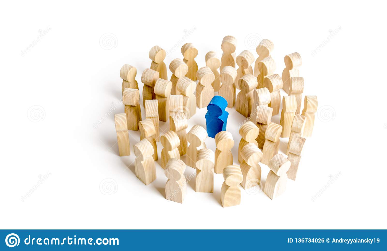 Blue figure leader stands at the head of the crowd. Business concept of leader and leadership qualities