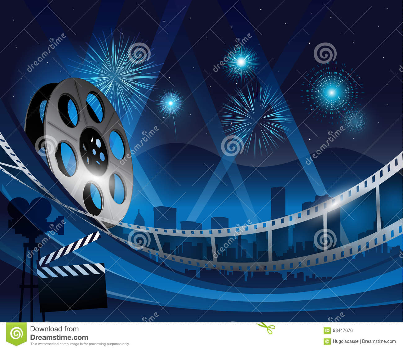 Blue Film Reel Movie Background In Front Of Hollywood City