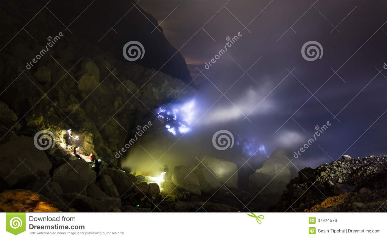 Blue fire a flow of liquid sulfur which has caught fire and burns with    Blue Fire A
