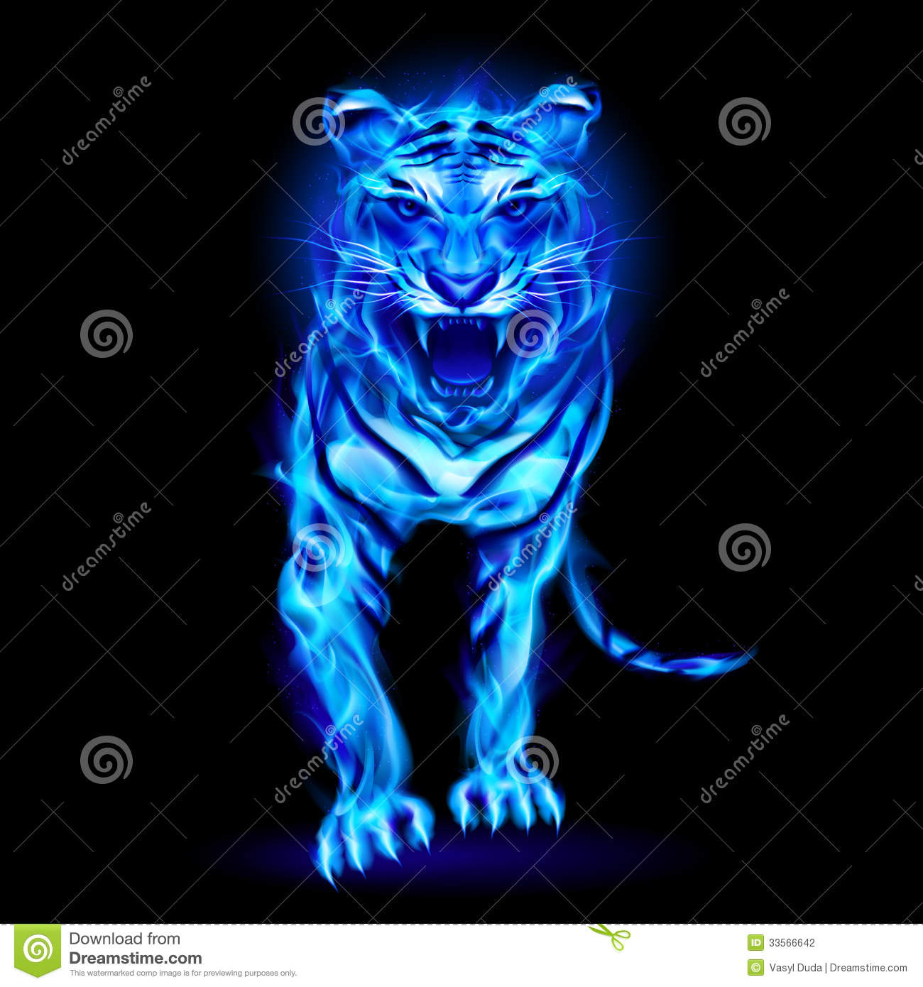 blue fire tiger stock photography image 33566642