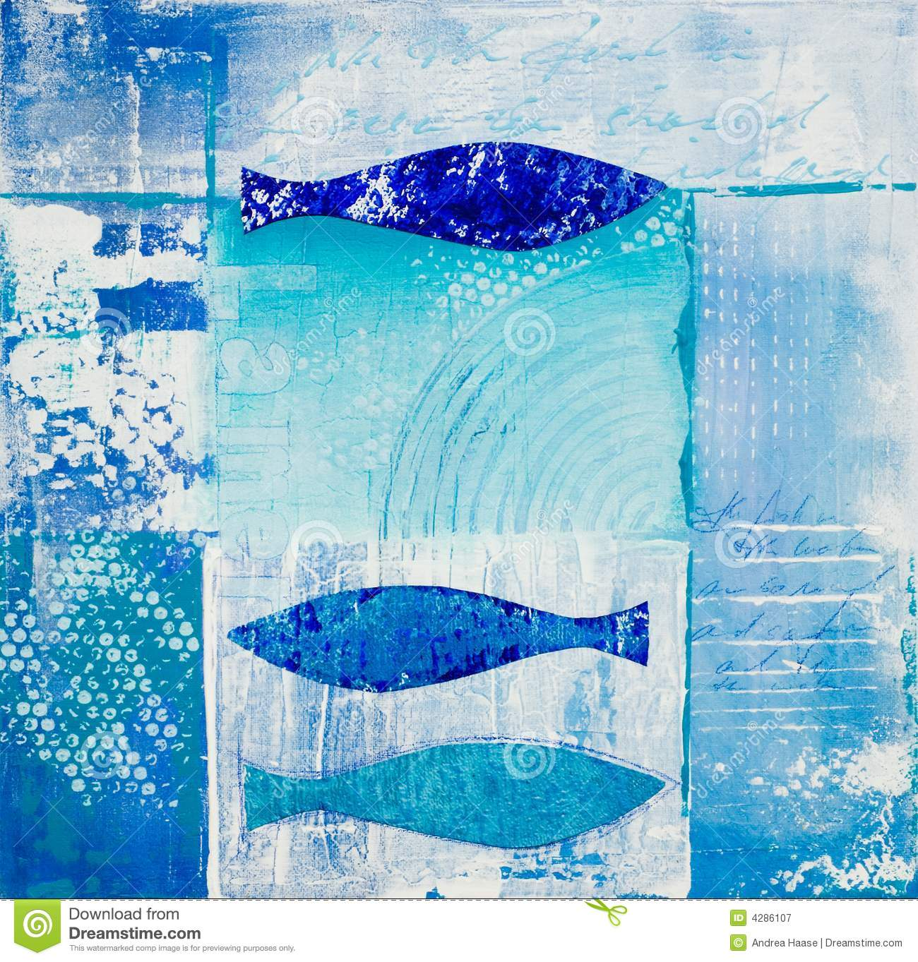 Blue Fish Collage Royalty Free Stock Photography Image