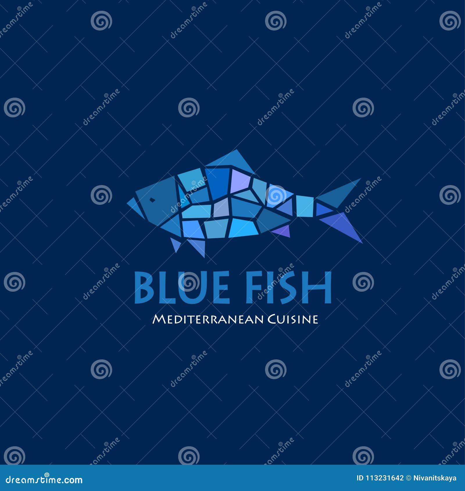 Blue fish logo. Mediterranean cuisine restaurant. Blue fish mosaic on a dark background.