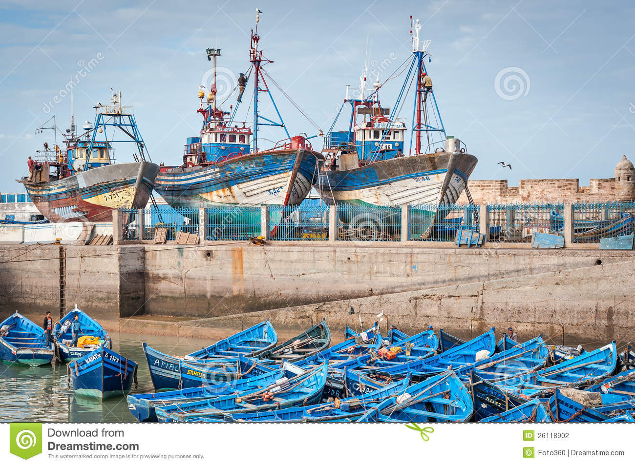 Blue Fishing Boats And Ships In Harbor Editorial ...