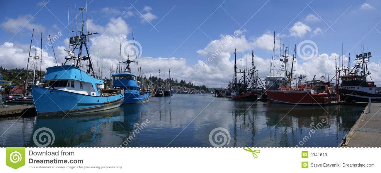 Blue fishing trawlers and other boats royalty free stock for Newport oregon fishing