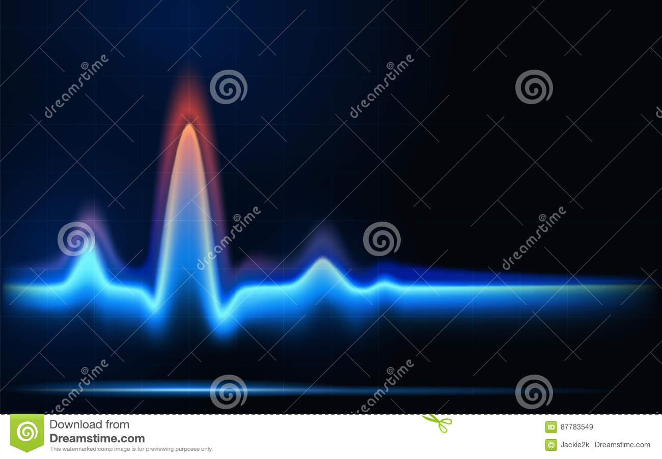 Blue Flames Of Gas In The Form Of Heartbeat Line. Stock Vector ...