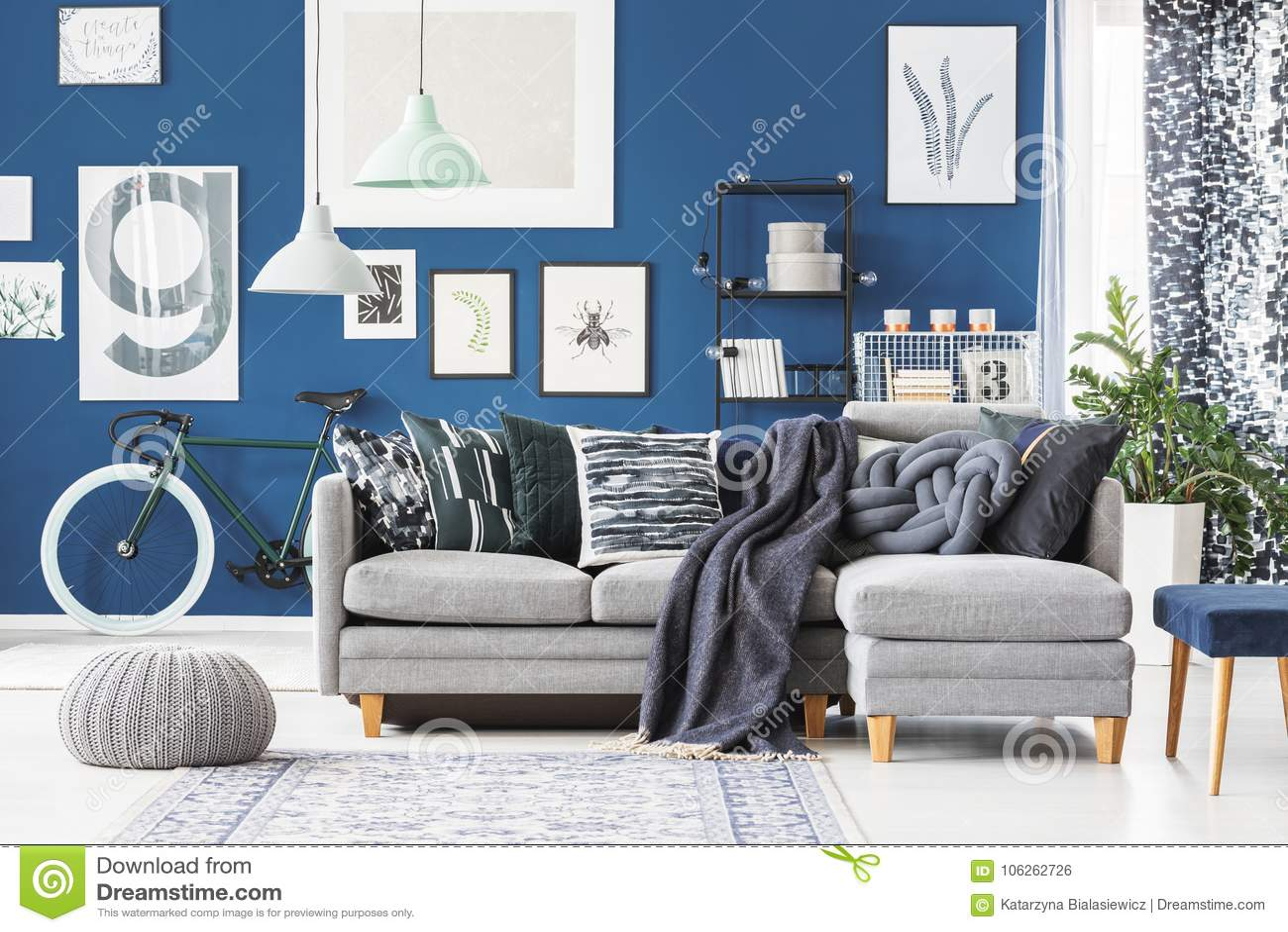 Blue flat with corner sofa stock photo. Image of candle ...