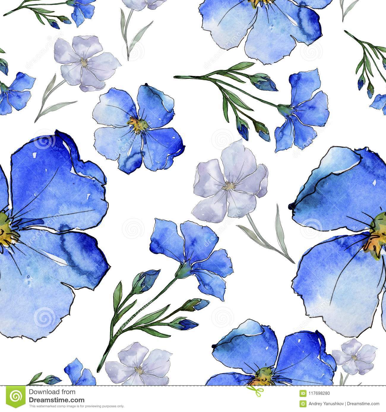 Blue Flax Floral Botanical Flower Seamless Background Pattern