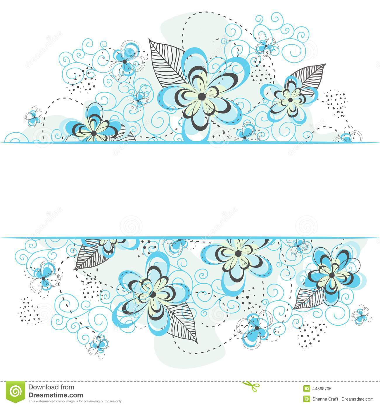 Blue and teal floral background with white border, swirls, flowers ...