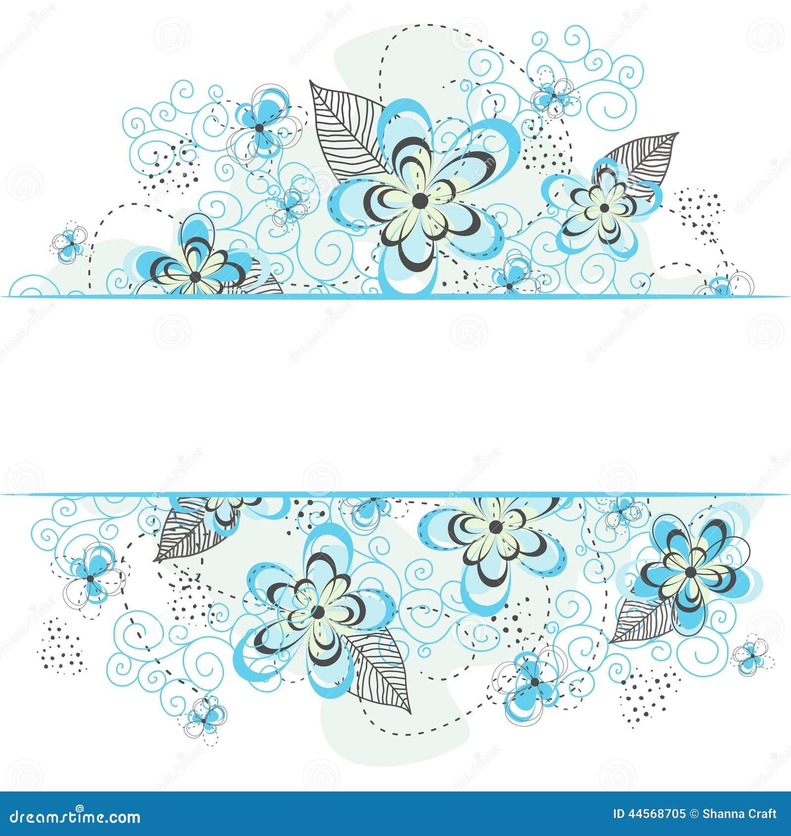 Blue Floral Background Border Illustration 44568705 Megapixl