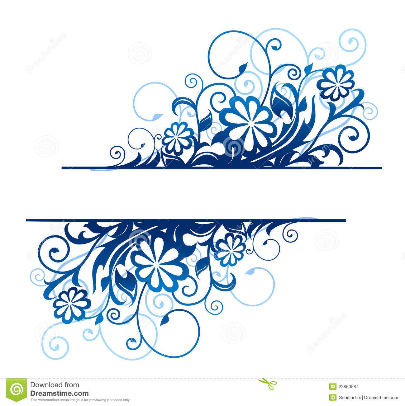 Blue floral border stock vector. Illustration of heading - 22850684
