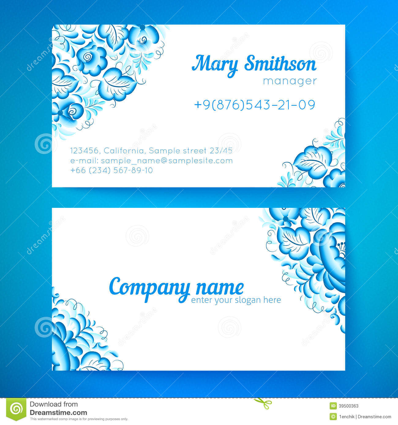 Blue floral decoration business cards templates