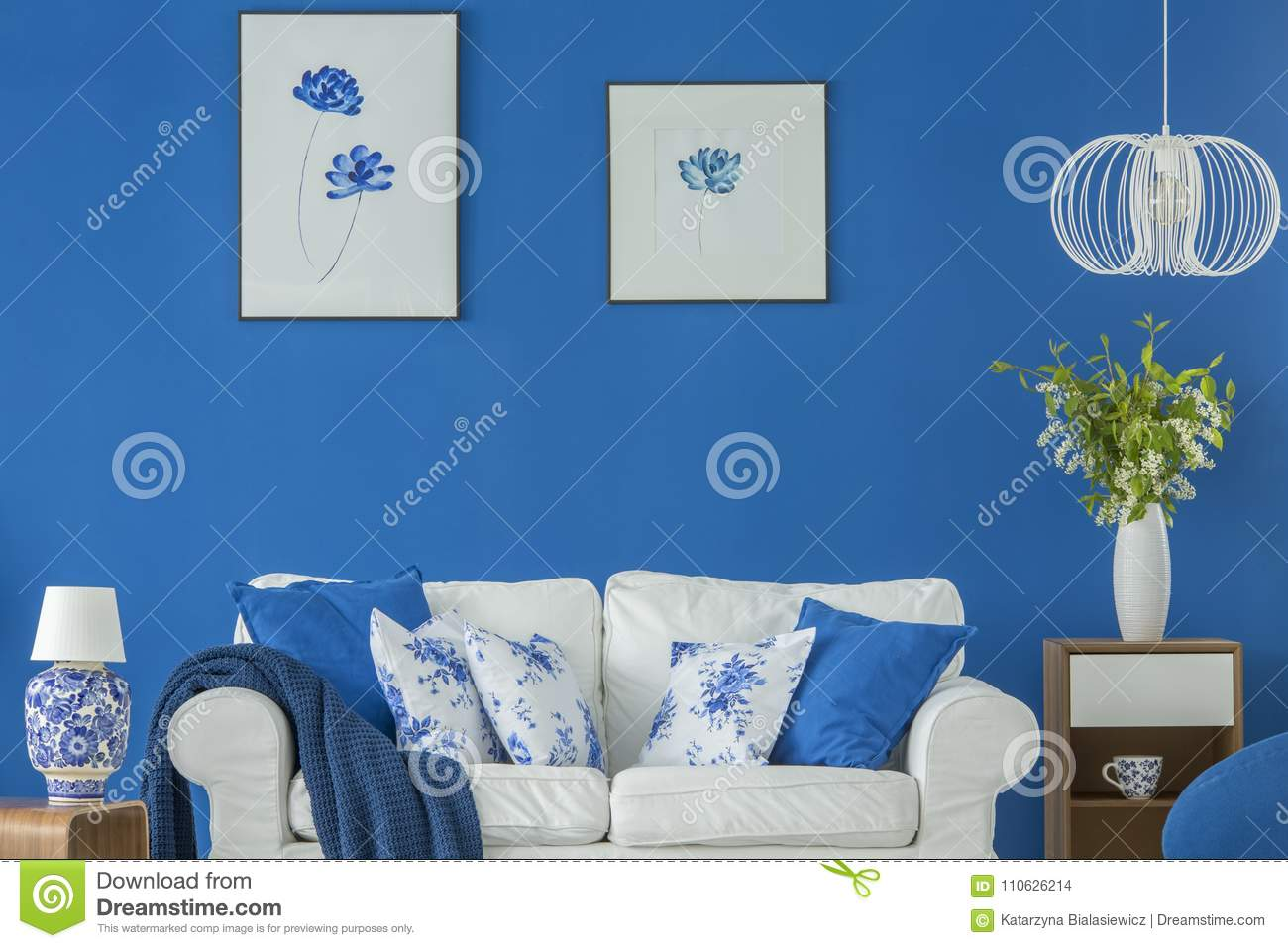 Awesome Blue Floral Living Room Stock Photo Image Of Sofa Gallery Gamerscity Chair Design For Home Gamerscityorg