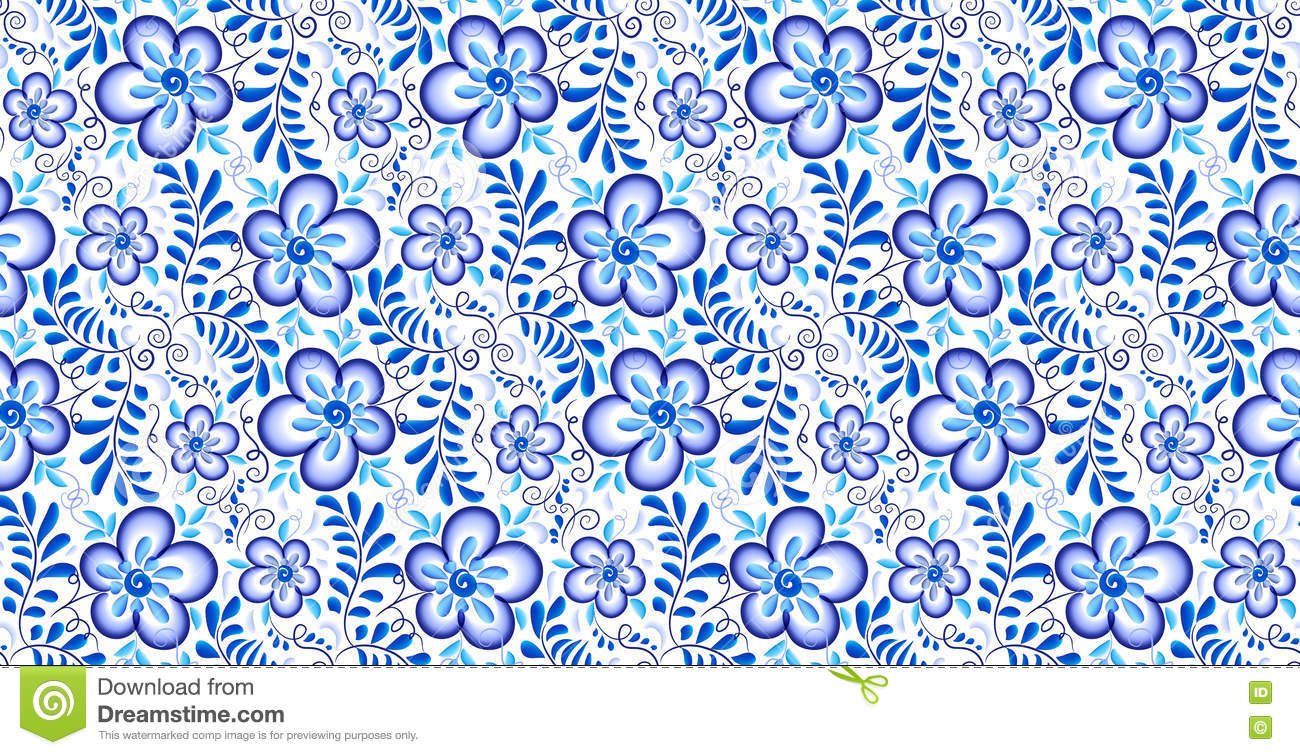 Artistic floral element abstract gzhel folk art blue flowers stock - Blue Floral Ornament In Russian Gzhel Style Vector Seamless Pattern Stock Vector