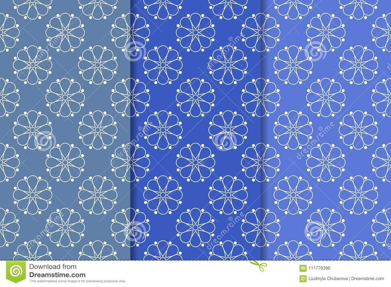 Blue floral ornaments. Set of vertical seamless patterns