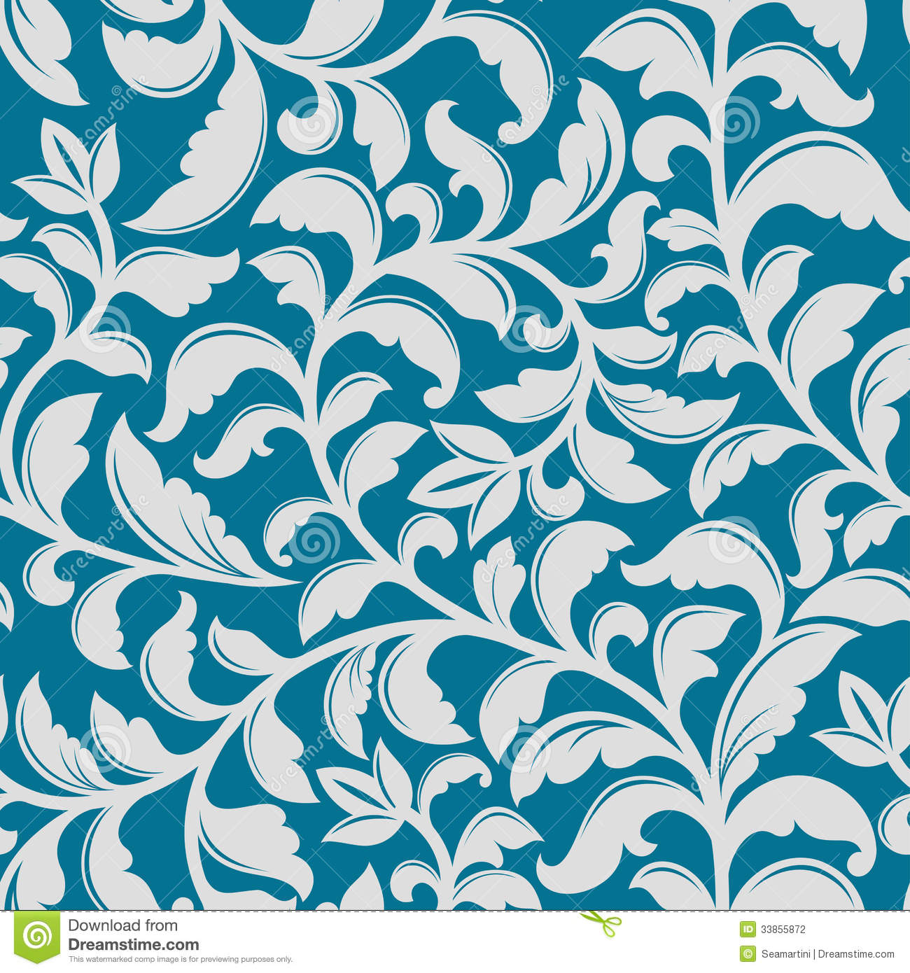 Blue Floral Pattern Stock Vector Illustration Of Curve