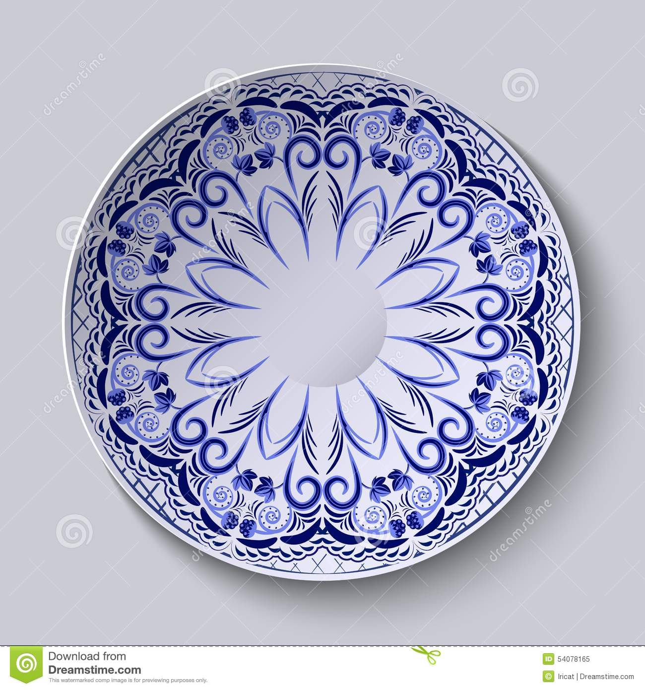 Chinese Porcelain Plates : Blue floral pattern on a round plate stylization of