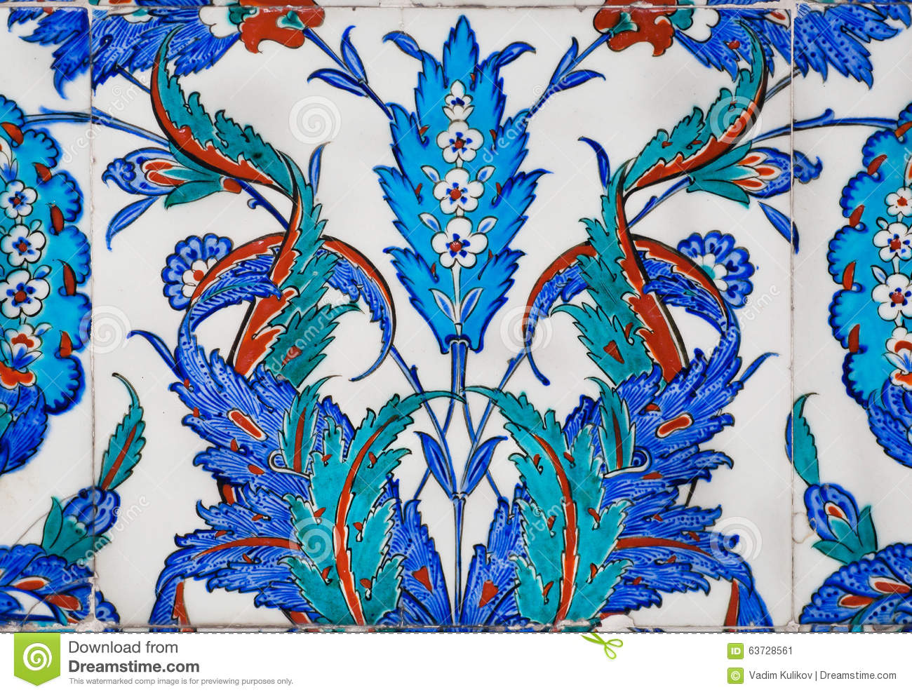 Blue floral patterns of 16th century tiles in antique turkish style royalty free stock photo shiifo