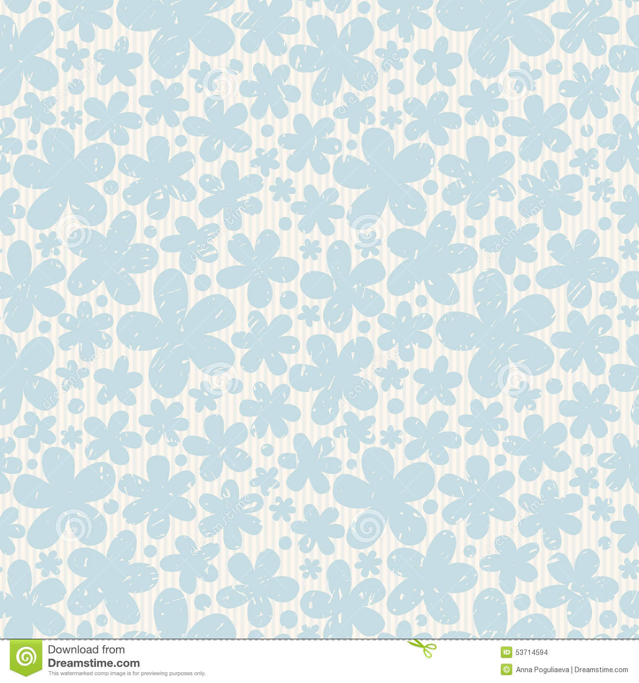 blue floral seamless pattern on light background stock