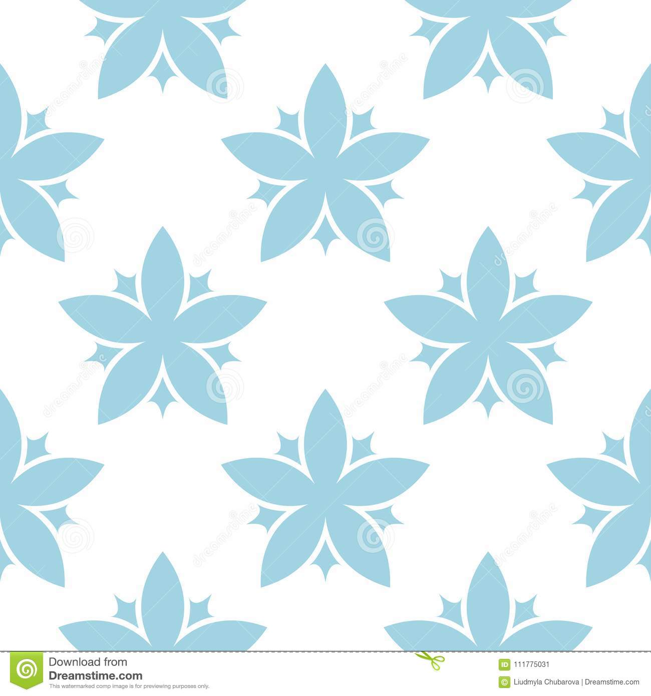 Blue floral seamless pattern on white background