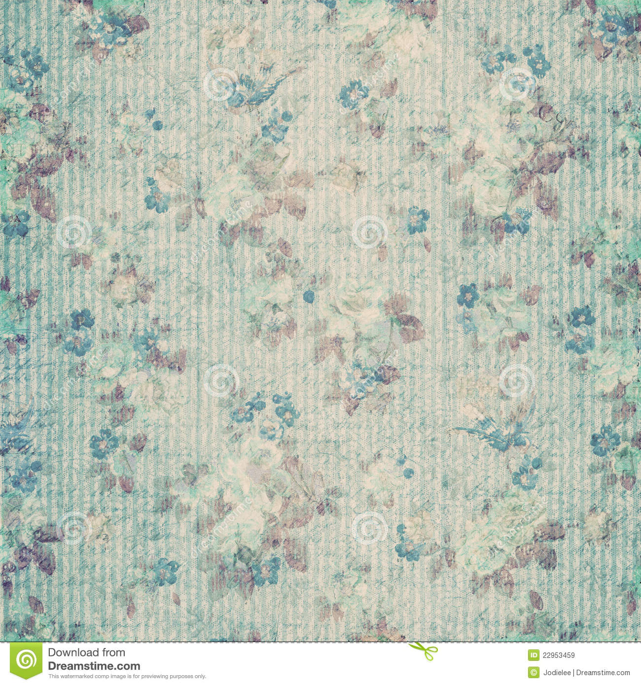blue floral shabby chic vintage scrapbook paper stock illustration