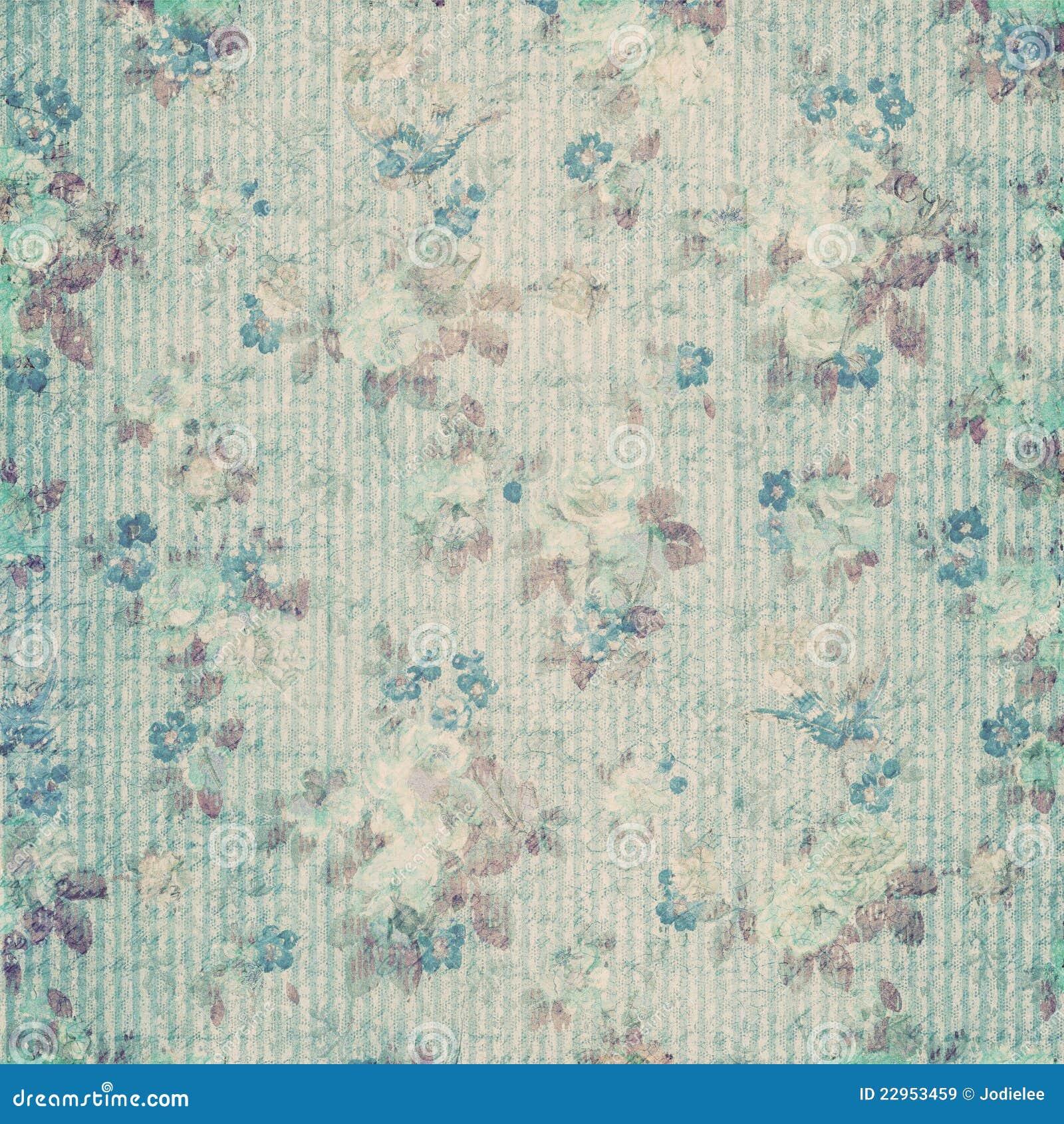 Scrapbook paper images - Blue Floral Shabby Chic Vintage Scrapbook Paper