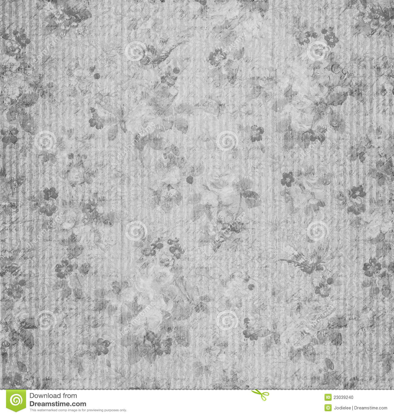 Blue Floral Shabby Chic Vintage Scrapbook Paper Stock Illustration
