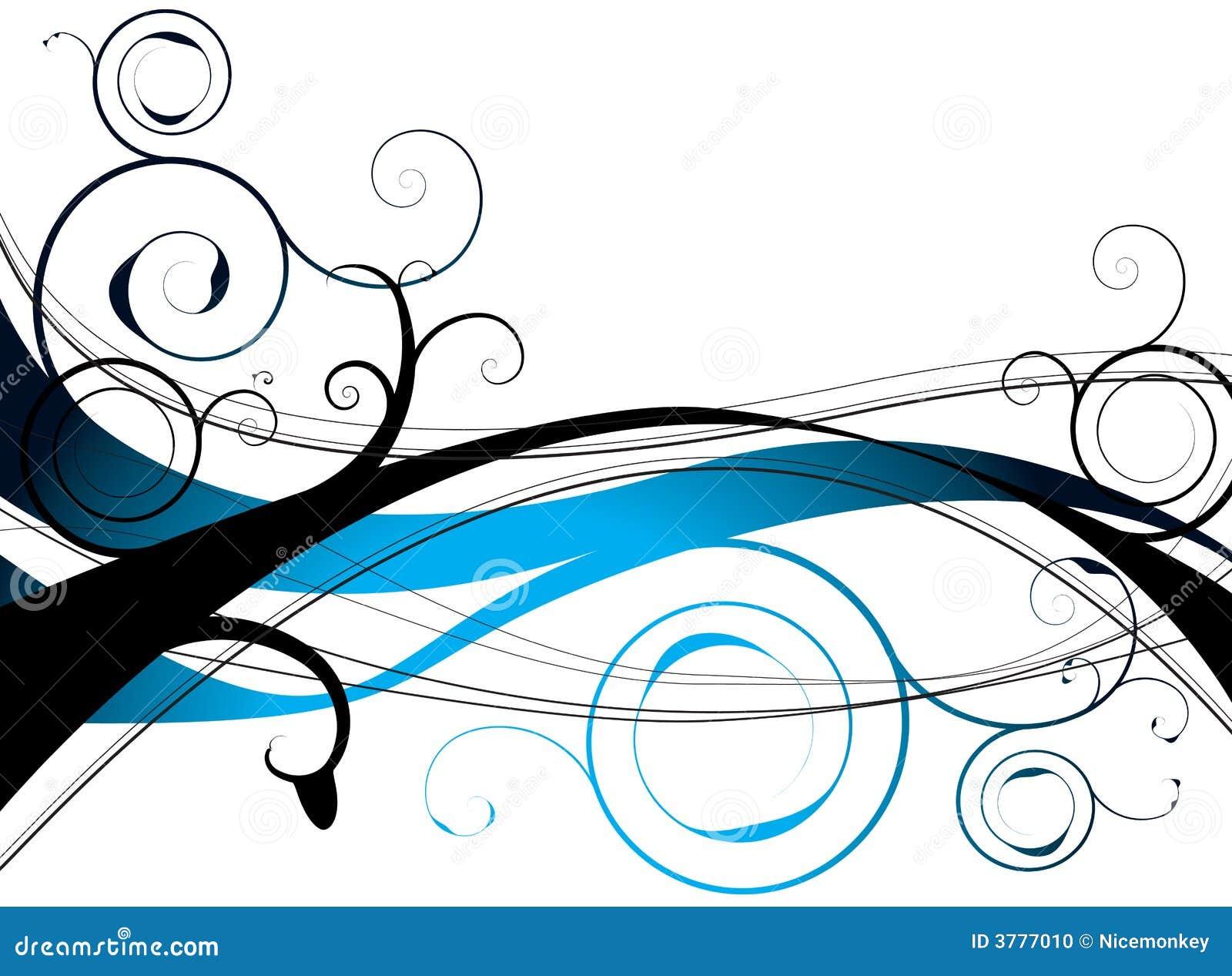 Blue floral swirl
