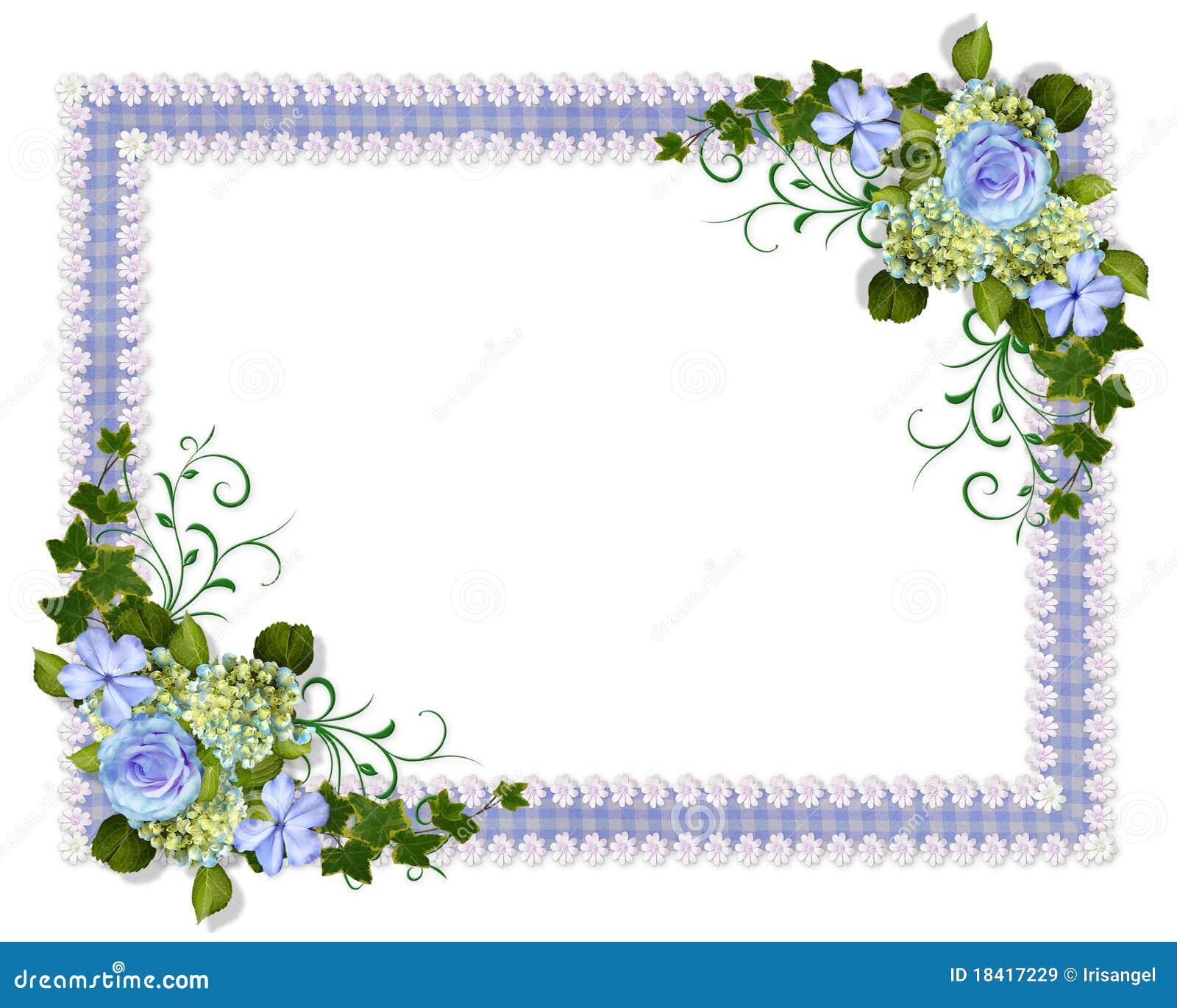 Blue Floral Wedding Invitation Stock Illustration - Illustration ...