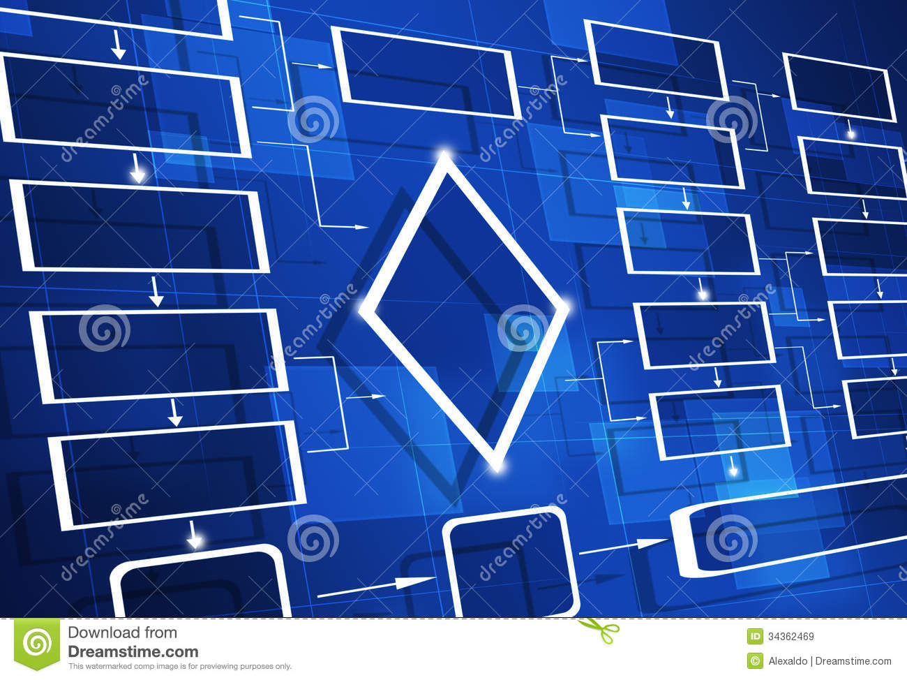 Blue Flow Chart Diagram Stock Image  Image Of Planing
