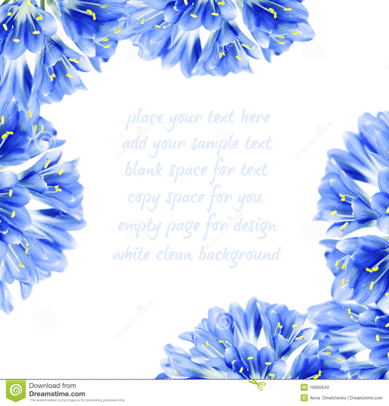 Abstract blue fresh flower border, isolated on white background with ...