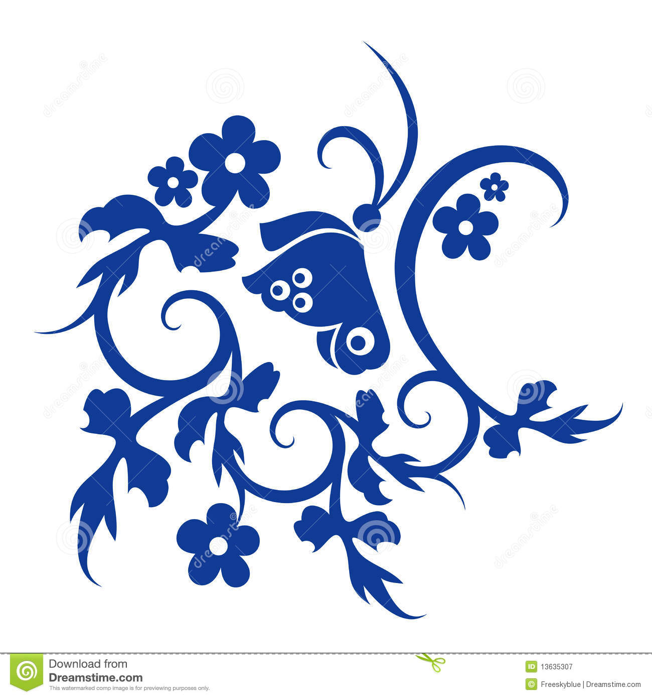 blue flower and butterfly pattern royalty free stock photography
