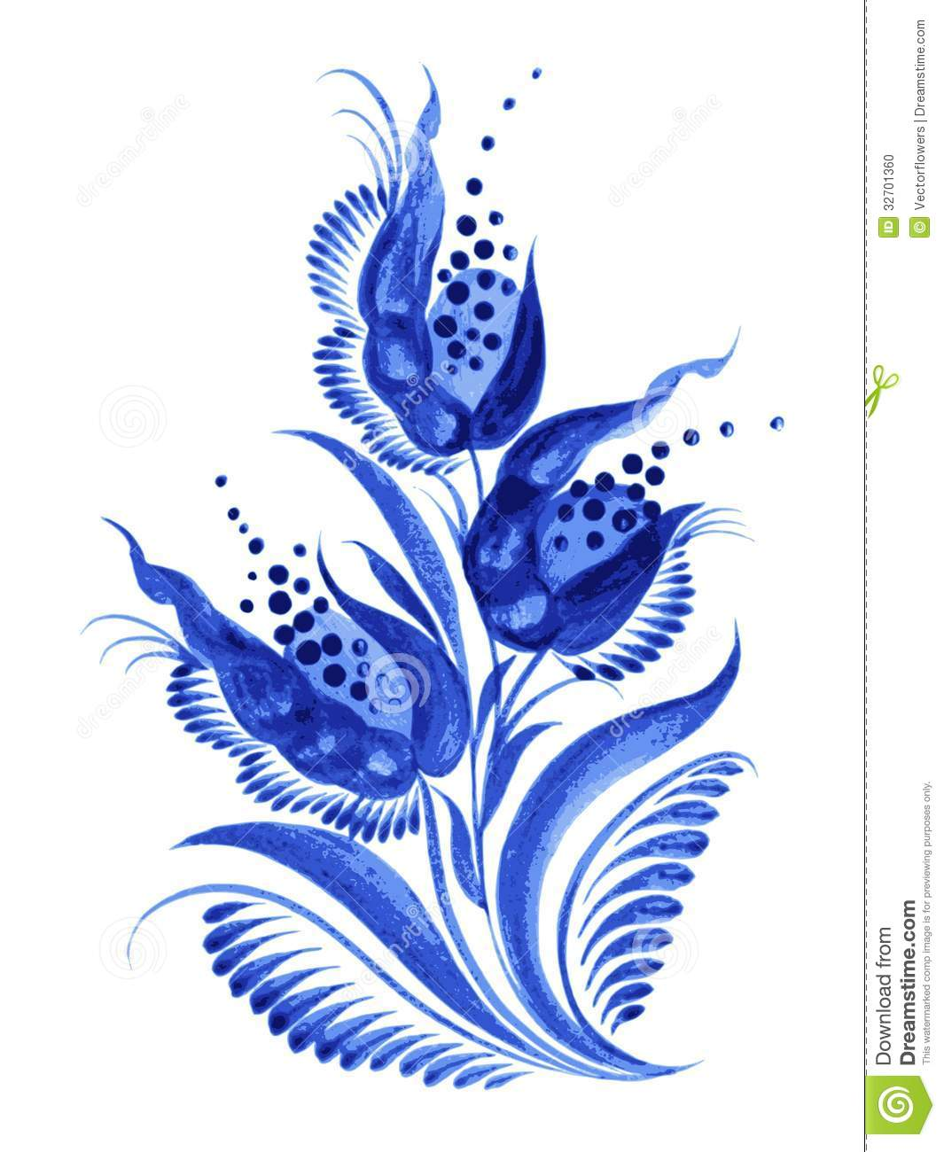 Blue Flower Composition Stock Vector Illustration Of Cartoon 32701360