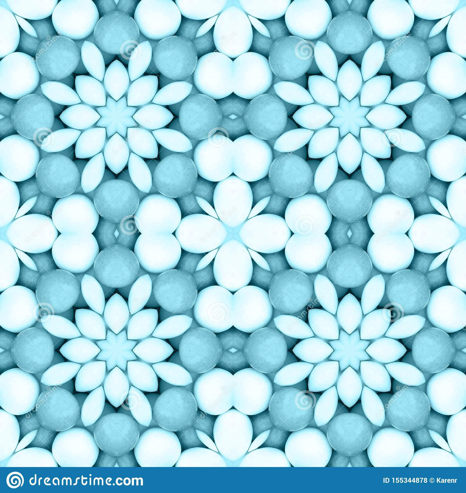 Blue flower mosaic detailed seamless textured pattern background