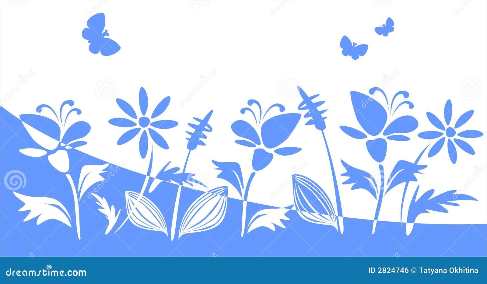 Blue flower silhouettes