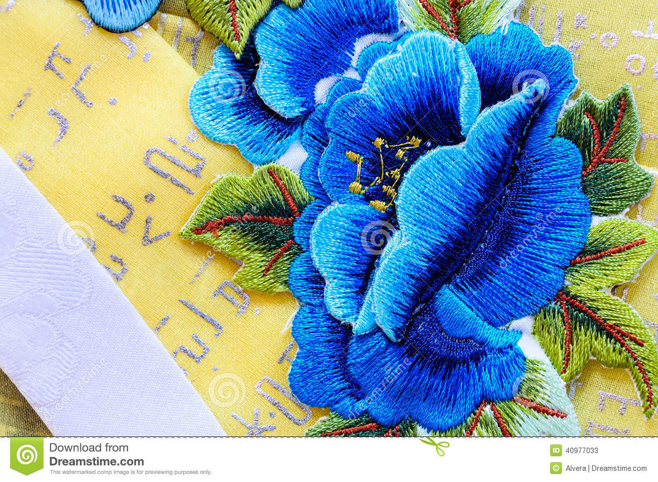 Blue flower silk embroidery flowers stock photo image