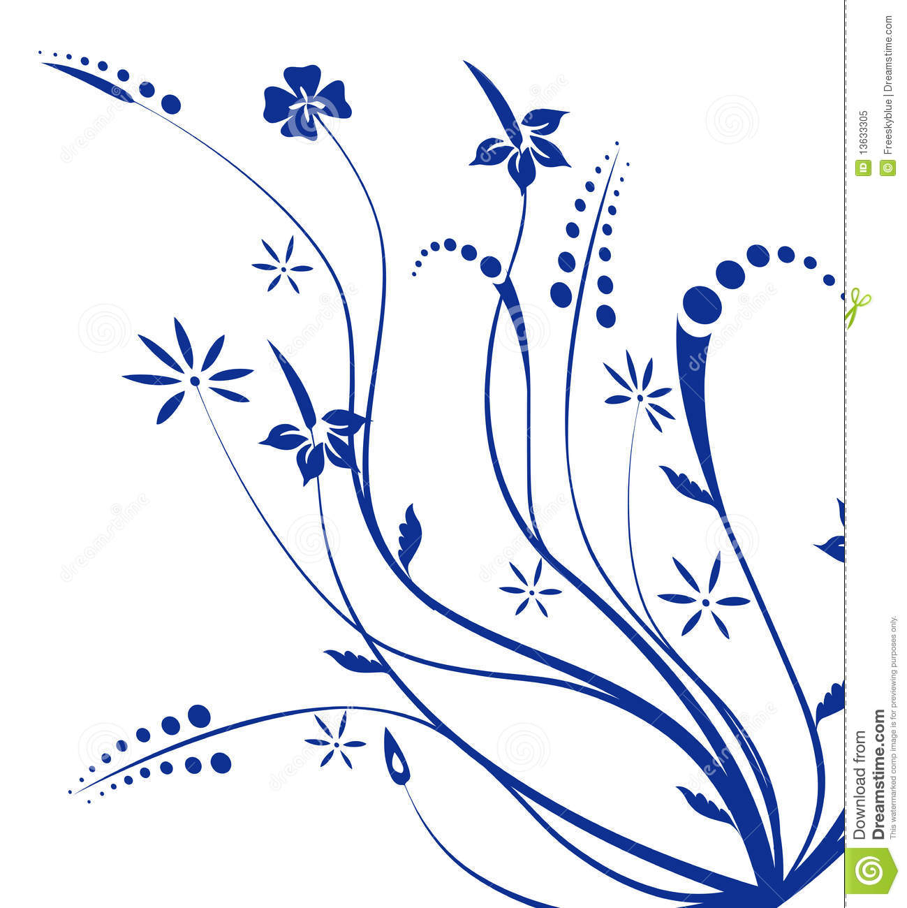 Blue Flower And Vines Texture Stock Illustration Illustration Of Blossom Circle 13633305