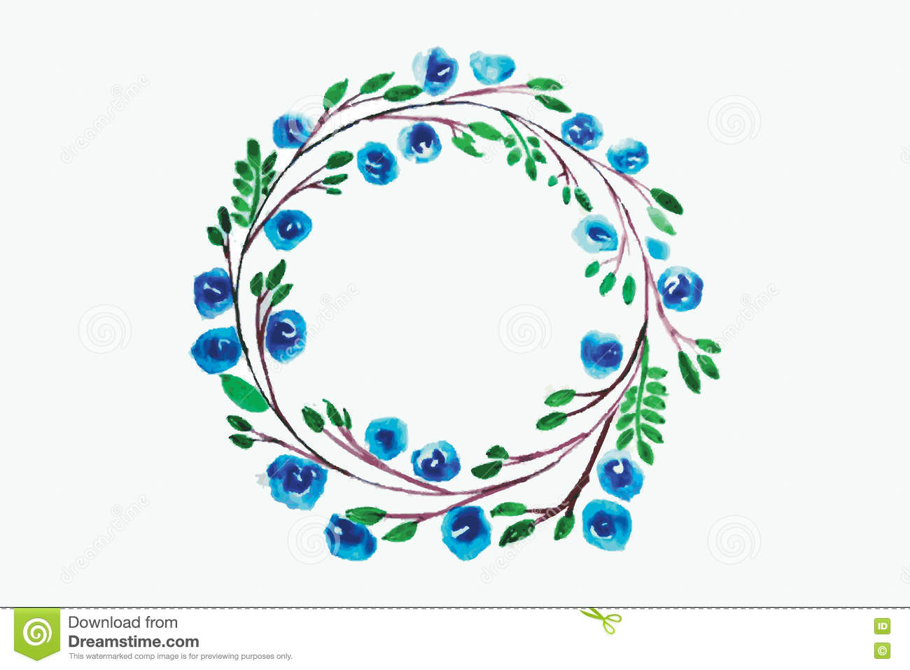Flower watercolor wreath for beautiful design stock vector blue flower watercolor wreath for beautiful design vector illustration izmirmasajfo