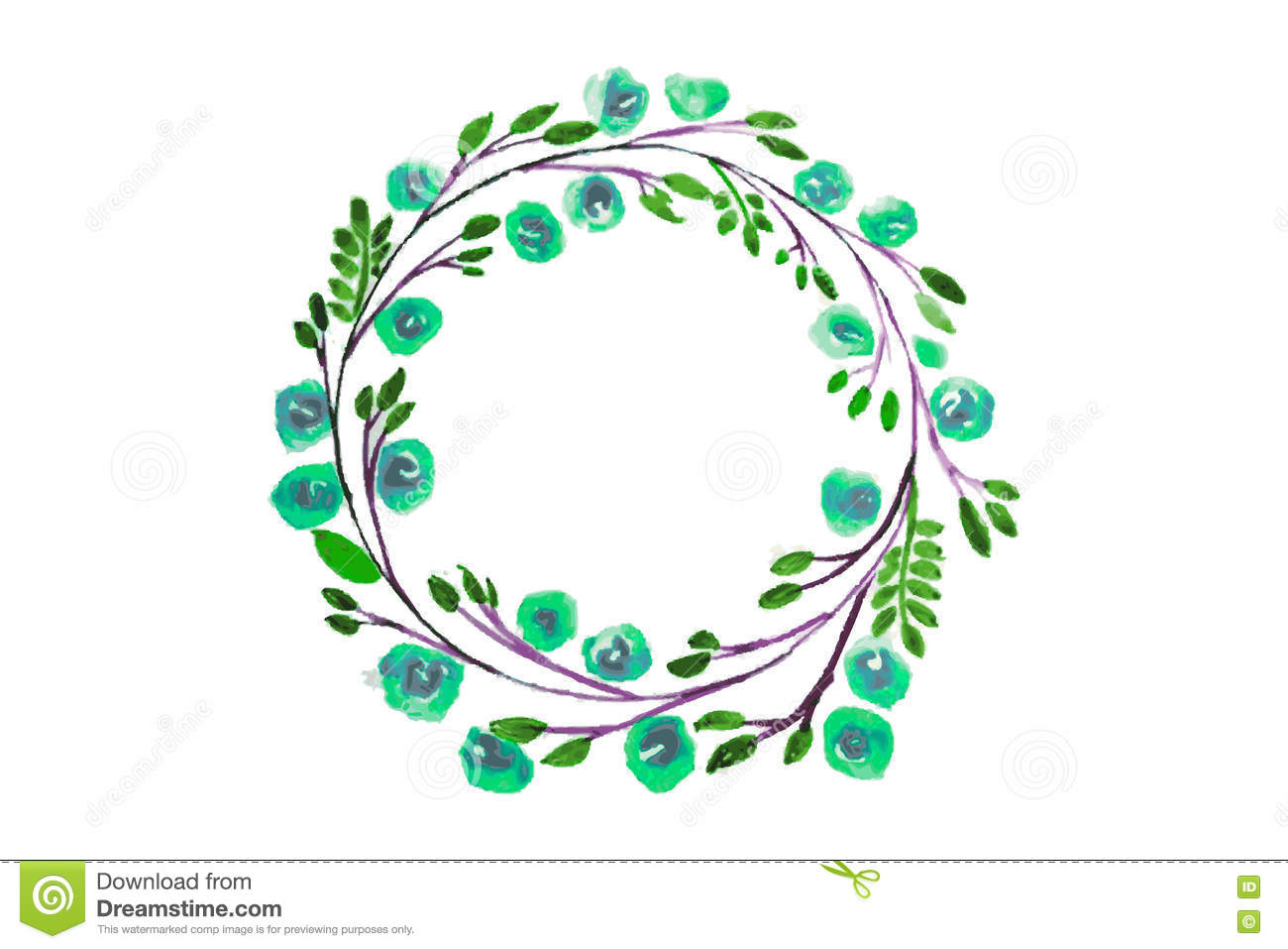Blue flower watercolor wreath for beautiful design stock vector blue flower watercolor wreath for beautiful design royalty free stock photo izmirmasajfo Gallery
