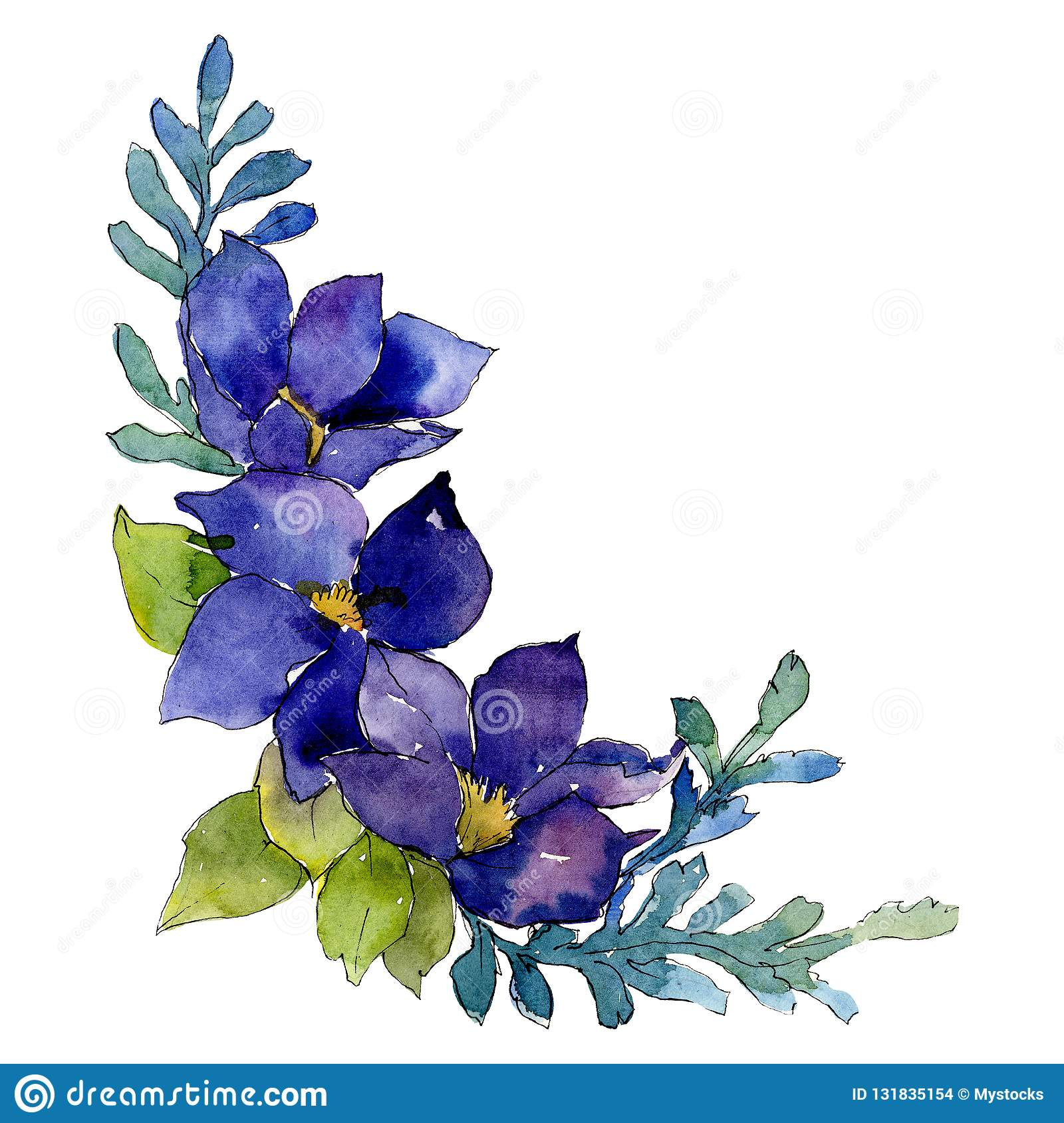 Blue Flowers Isolated Flower Illustration Element Background Illustration Set Watercolour Drawing Aquarelle Bouquet Stock Illustration Illustration Of Plant Botanical 131835154
