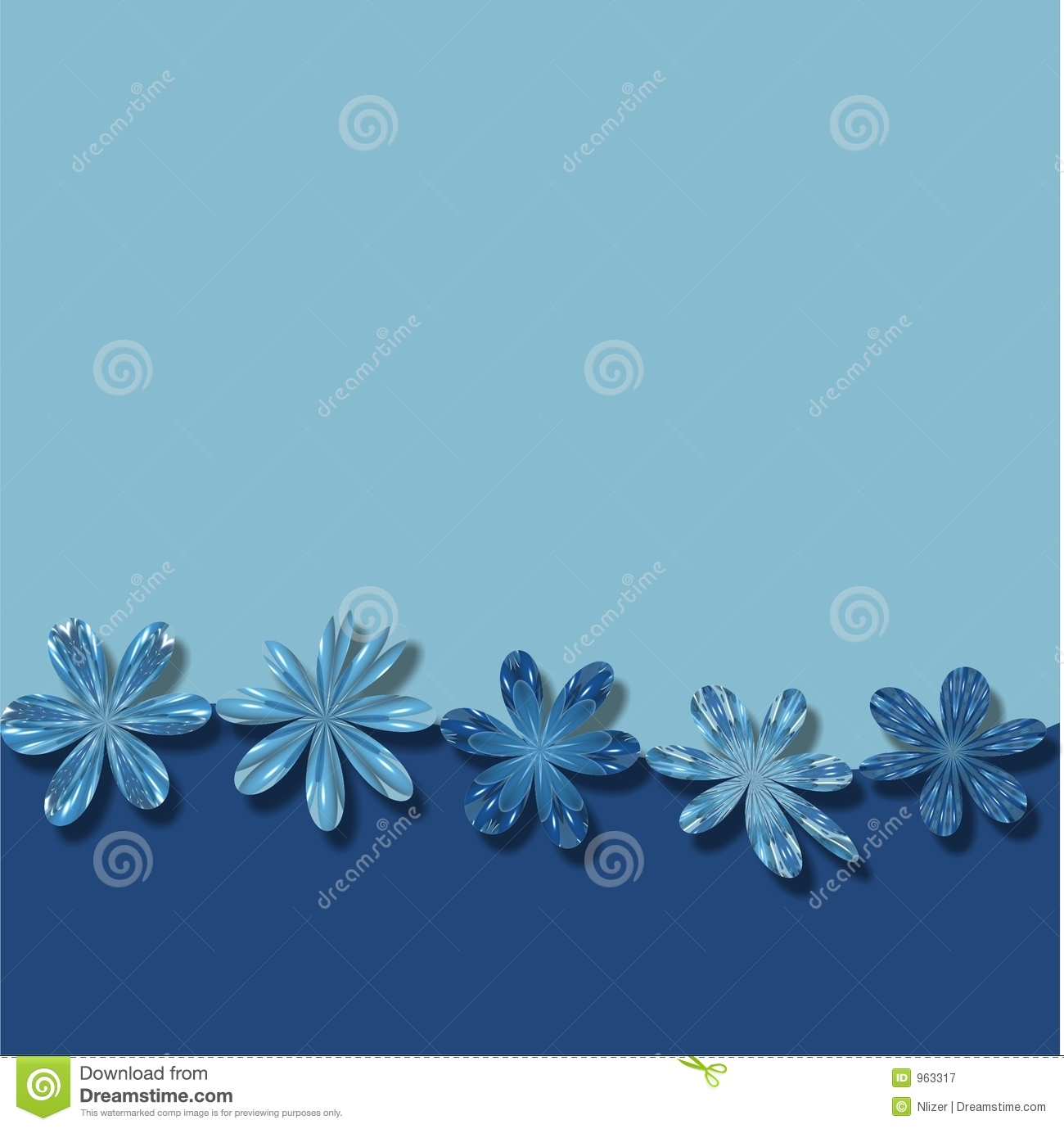 Blue Flowers Frame Wallpaper Background Stock Illustration