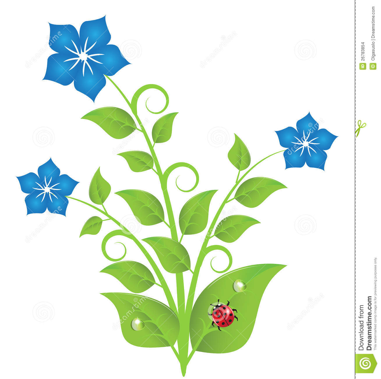 Blue Flowers With Leaves And Swirls Stock Images - Image: 26783854
