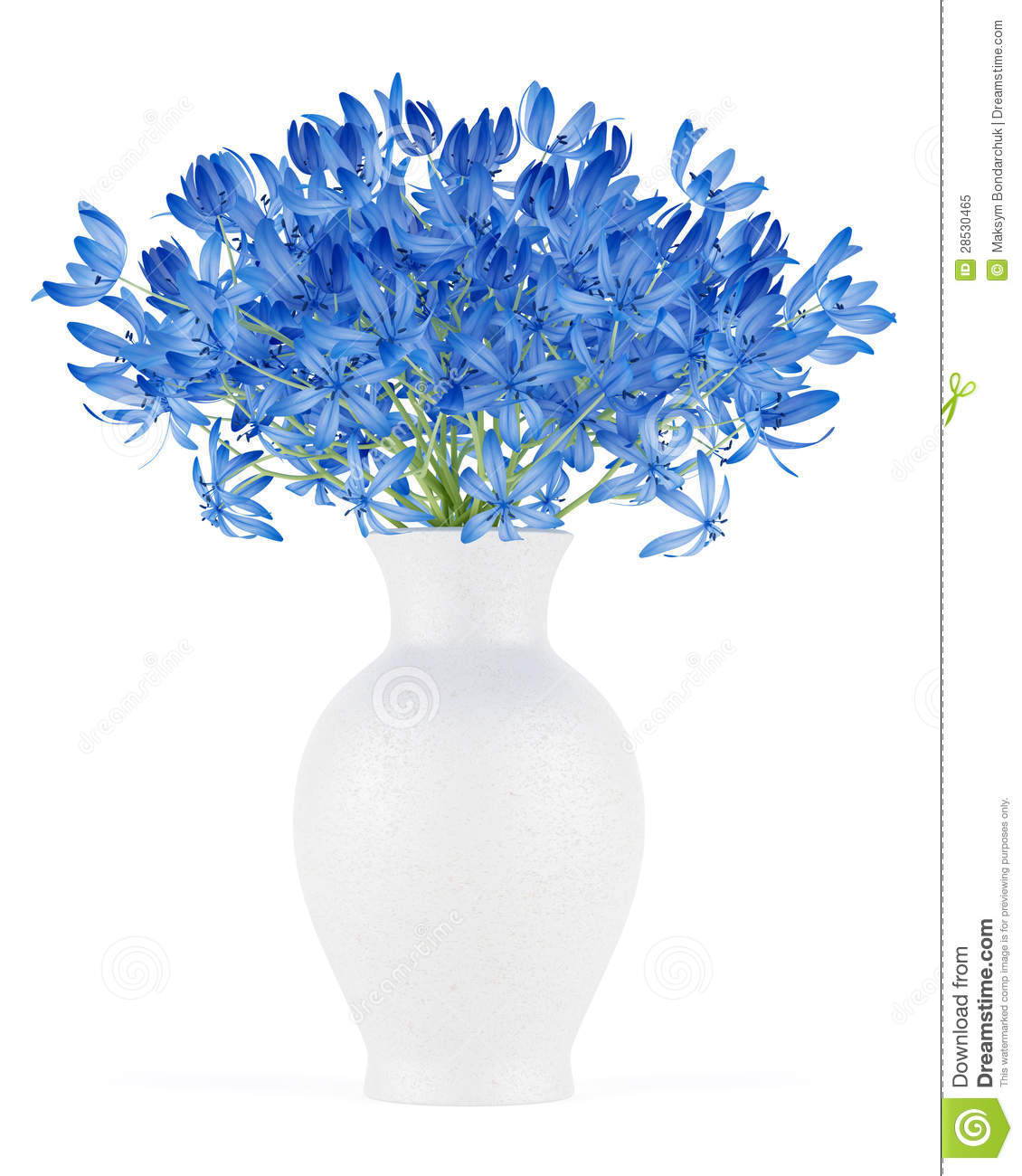 Blue Flowers In Vase Isolated On White Royalty Free Stock