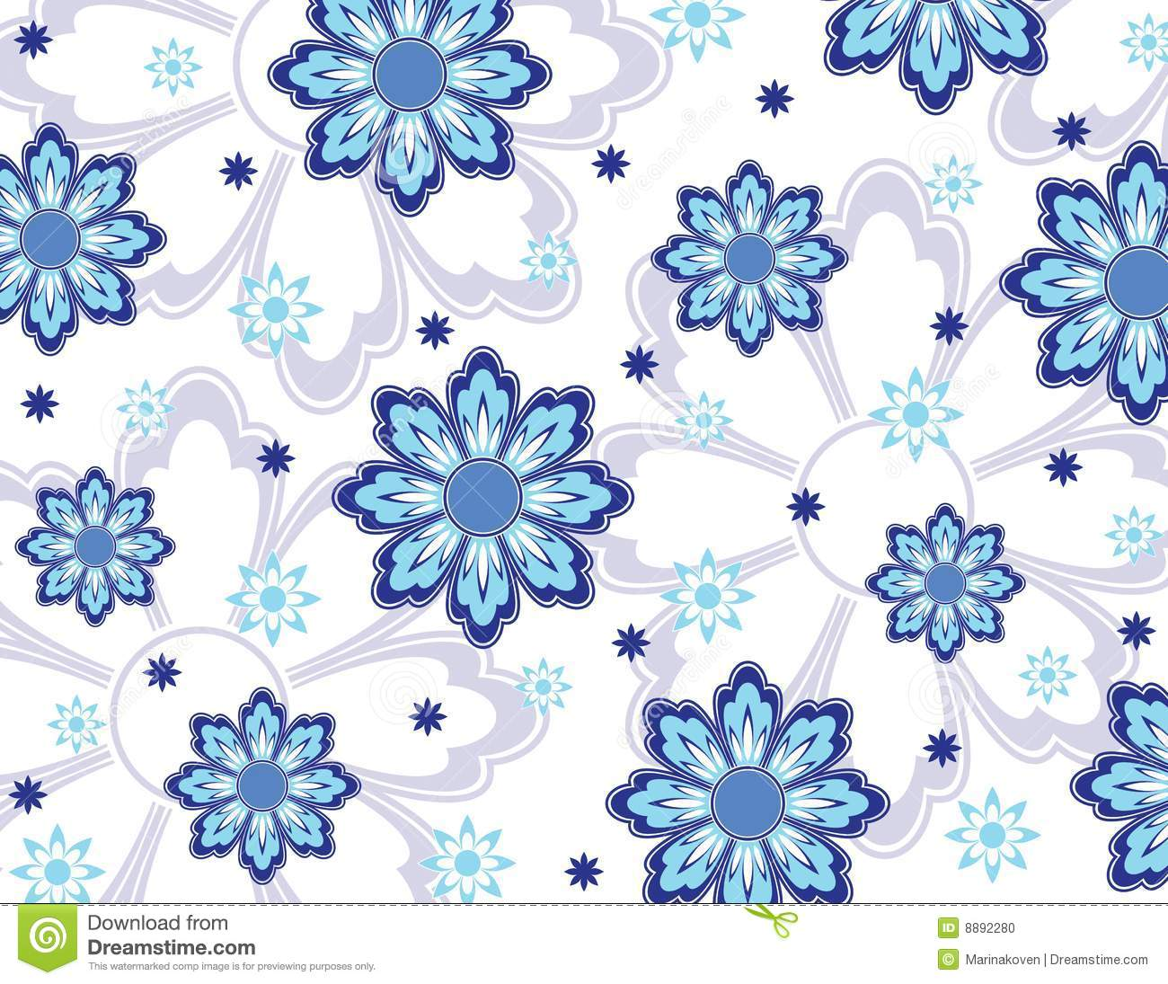 Blue Flowers Wallpaper Stock Photo - Image: 8892280