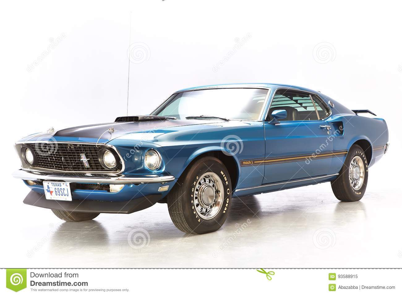 Ford Mustang Stock Photos Download 4807 Images 1969 Hatchback Blue Mach One On White Background 1 428 Scj